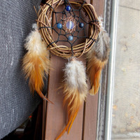 Small Dream Catcher with Blue Aventurine and Opalite // Healing Metaphysical Gemstone Apartment Boho Hippie Home Decor