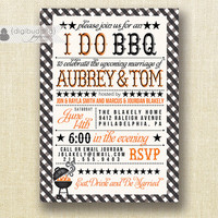 Gingham I DO BBQ Party Invitation Rehearsal Dinner Wedding Barbecue Outdoor House Party Grill Summer Printable Digital orPrinted- Aubrey
