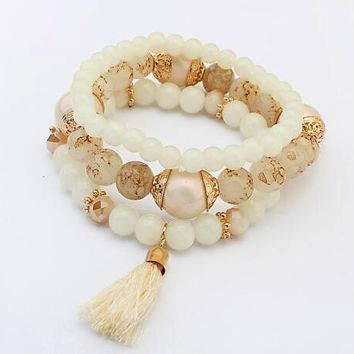 Bohemian MultiLayered Tassel Beaded Bracelets