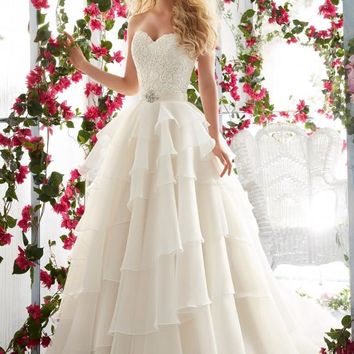 Voyage by Mori Lee 6817 Strapless Lace Ruffle Ball Gown Wedding Dress