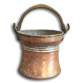 Vintage Brass & Copper Bucket  Utensil Holder / Vase