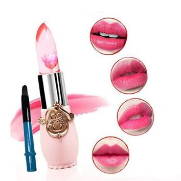 Voberry® Cosmetics Long Lasting Lipstick Translucent Moisturize Jelly Lipstick Lip Gloss Lip Balm with Free Lip Brush (Blue)