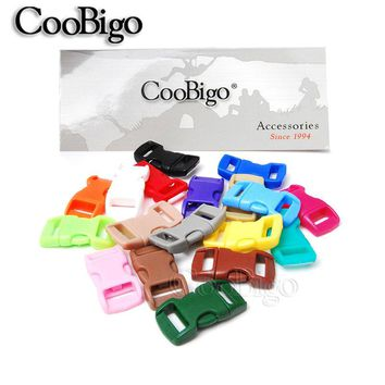 """20pcs Colorful 3/8"""" Side Release Buckle Curved Parachute 550 Paracord Bracelet Dog Collar Strap Webbing Outdoor Camp Bag Parts"""