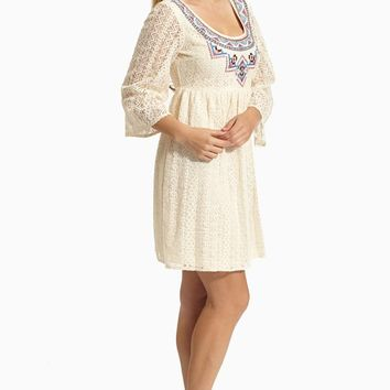 Beige Embroidered Front Lace Dress