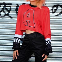 Women Loose Casual Personality Multicolor Letter Numeral Print Long Sleeve Sweater Crop Tops