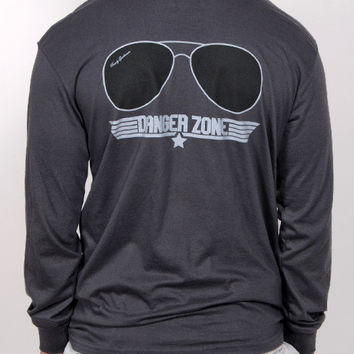 Danger Zone Long Sleeve Pocket Tee Shirt - Smoke | Rowdy Gentleman