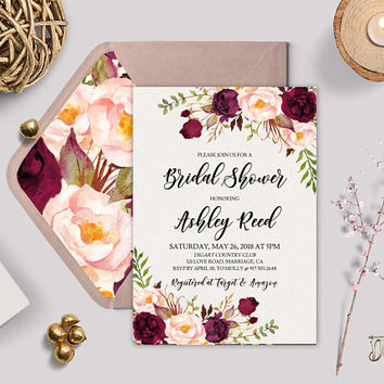 Burgundy Bridal Shower Invitation Template Printable Marsala Blush Peonies Bridal Shower Editable Invitation Set, Digital Download, TEMPLETT