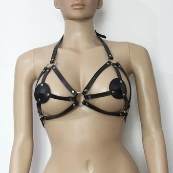 Womens Sexy Steampunk Faux Leather Halter Strappy Bra Top with Oval Tip Fetish Cosplay Body Harness Crop Top Costume