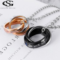 GS Brand Couple Necklace 316L Stainless Steel King Queen Lettering Name Logo Double Circle Pendant Necklaces For Lovers Y3