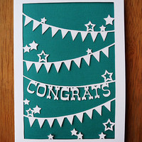 Handcut Papercut Greeting Card - Congratulations - Bunting and Stars - 5x7