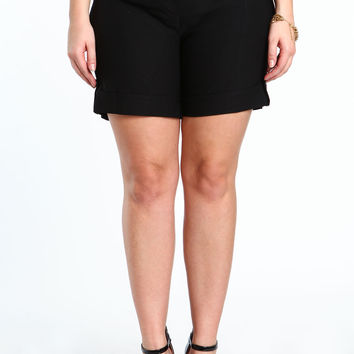 Plus Size Double Buttoned Shorts