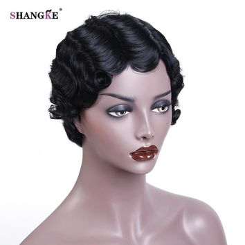 SHANGKE Hair Short Curly Synthetic Wigs For  Women  African American Wigs Women Heat Resistant Hair