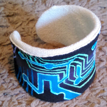 Hand Painted Wrist Cuff White Canvas Cyber Punk Themed Customized Jewelry Custom Bracelet New Wearable Art Accessories Gift Ideas