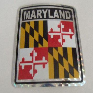 "Maryland Flag Reflective Sticker 3""x4"" Inches Adhesive Car Bumper Decal"