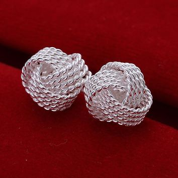 Jade Silver Tennis Net Web Sun Stud Earrings for Women by Ritzy