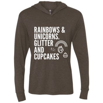 Rainbows & Unicorns, Glitters And Cupcakes Triblend LS Hooded T-Shirt