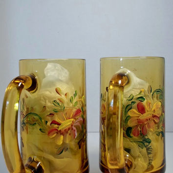 A Set of Two Vintage Amber Glass Mugs Hand Painted Original Design Rosemaling