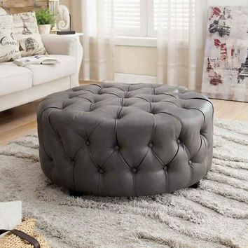 Slouchy Contemporary Ottoman, Gray