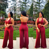 Red Halter Jumpsuit