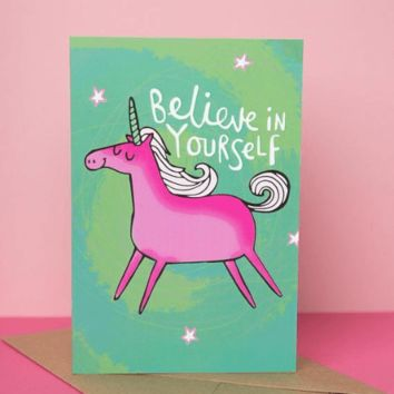 Believe in yourself Unicorn Card Funny Happy Graduation Greeting Card FREE SHIPPING