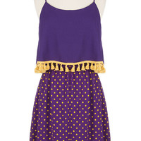Purple & Gold Tassel Gameday Dress