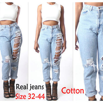 Spring Summer Loose High Waist Jeans Woman 2015 Casual Hole Ripped Jeans Feminina Boyfriend Jeans For Women Plus Size 32-44 CF02