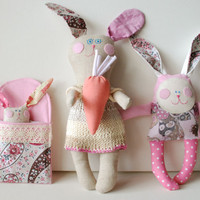 Bunny, Rabbit Dolls, Set of 3 Rabbits, Family Dolls, Gift for Daughter, Soft Animal Toys, Mom and Children, Handmade Stuffed Doll for Baby