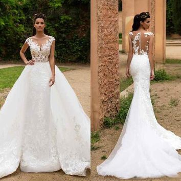 Vintage Mermaid Wedding Dress with Detachable train Appliques Embroidery Fashion New Bridal Dresses Wedding Gown