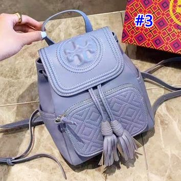 Tory Burch stylish solid color casual diamond lattice clamshell backpack #3