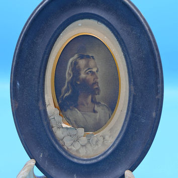 Jesus Oval Wall Hanging Vintage Small Oval Religious Wall Art Jesus Christ Religious Print Catholic Devotion Christian Picture Religion