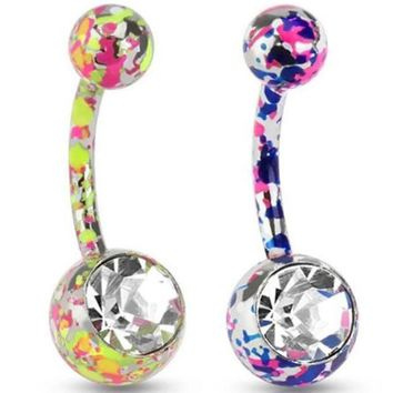 ac DCCKO2Q 1 PC Paint Camouflage Colorful Navel Piercing Earrings Ball Rhinestones Navel Earrings Friend New Year Gift