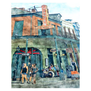 New Orleans French Quarter Street Scene Giclee Print 8x10 11x14 16x20 - Tujaques Est. 1856 - Korpita