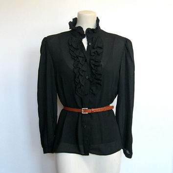 Vintage 1980s Goth / New wave Black Button down Ruffled Shirt  / Tuxedo Blouse