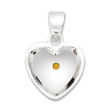 925 Sterling Silver Yellow and White Enamel Mustard Seed Heart Charm Pendant - 20mm
