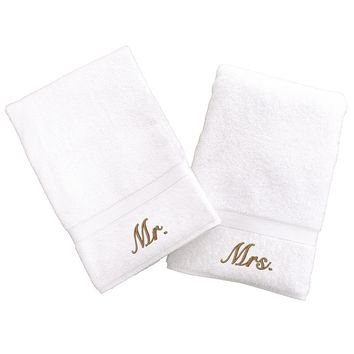 Linum Home Textiles Terry 2-pk. ''Mr.'' & ''Mrs.'' Hand Towels (White)