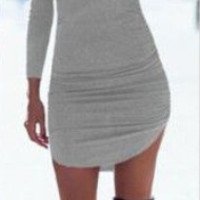 Plain Asymmetrical Bodyocn Dress