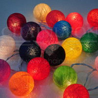 MIXED COLOUR COTTON BALL CABLE STRING PARTY,PATIO,FAIRY,DECOR,WEDDING LIGHTS