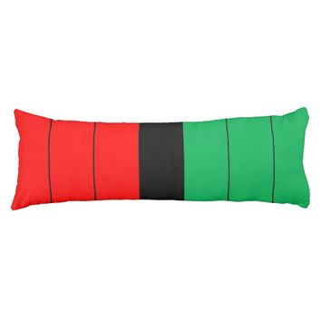 Kwanzaa Red Black Green Kinara Striped Pattern Body Pillow