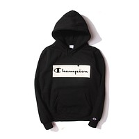 Champion Men Fashion Casual Pattern Print Long Sleeve Hooded Top Sweater Hoodie