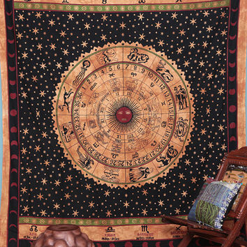 Astrology Tapestry , Indian Wall Hanging, Indian Tapestries, Zodiac Wall Art , Horoscope Tapestries, Zodiac Wall Decor, Zodiac Wall Hanging