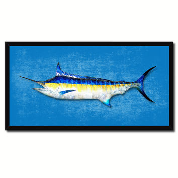 Swordfish Fish Blue Canvas Print Picture Frame Gifts Home Decor Nautical Wall Art
