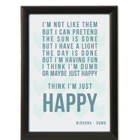 Nirvana Framed Lyrics Art Print (Dumb) A4