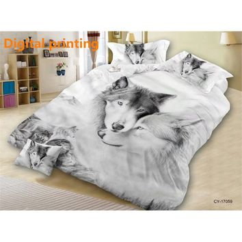 3pcs Bed Linen Set 3D Oil Printing Bedding Set WOLF Bed Clothes 3D Comforter Cover Bed Sheet Set Pillowcase (Size:King) (Color: