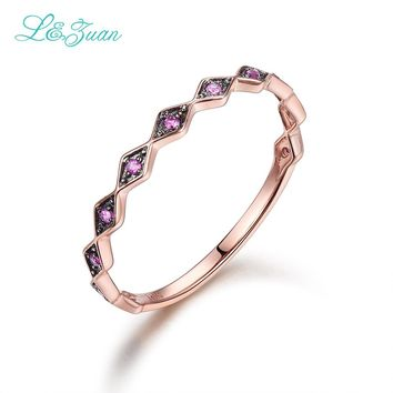 I&zuan 0.063ct Rose Gold Ring Natural Ruby Prong Setting Red Stone 14K Wave Design Luxury Jewelry for Women Gift