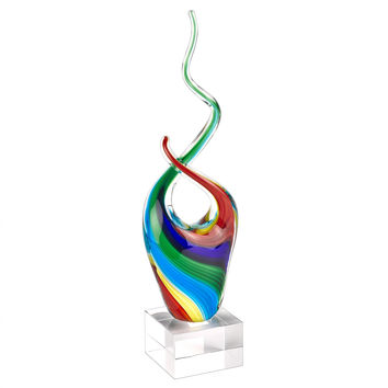 Badash GW566 Rainbow Murano Style Art Glass Abstract Centerpiece on Crystal Base 11""