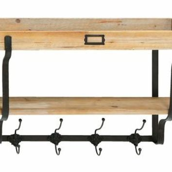 Benzara Functional Wood And Iron Wall Shelf And Hooks