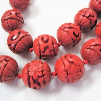 Antique Red Cinnabar Beads, 34 Authentic Beads, 26 inches with clasp, 30's Necklace