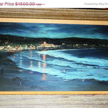 Holiday Sale Vintage 1950's Oil Painting Hotel Laguna, by Thorp, Waterfront, California Ocean, Beach, Waves, Seashore, Sand, Nautical Oil Pa