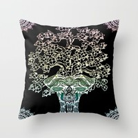 Indian Elephant Tree Of Life Throw Pillow by Inspired Images