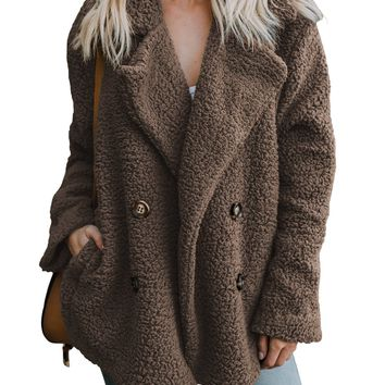 Women Coffee Fleece Open Front Coat With Pockets